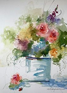 floral at the watermill by sandy strohschein watercolor 22 x 15 simple watercolor flowers