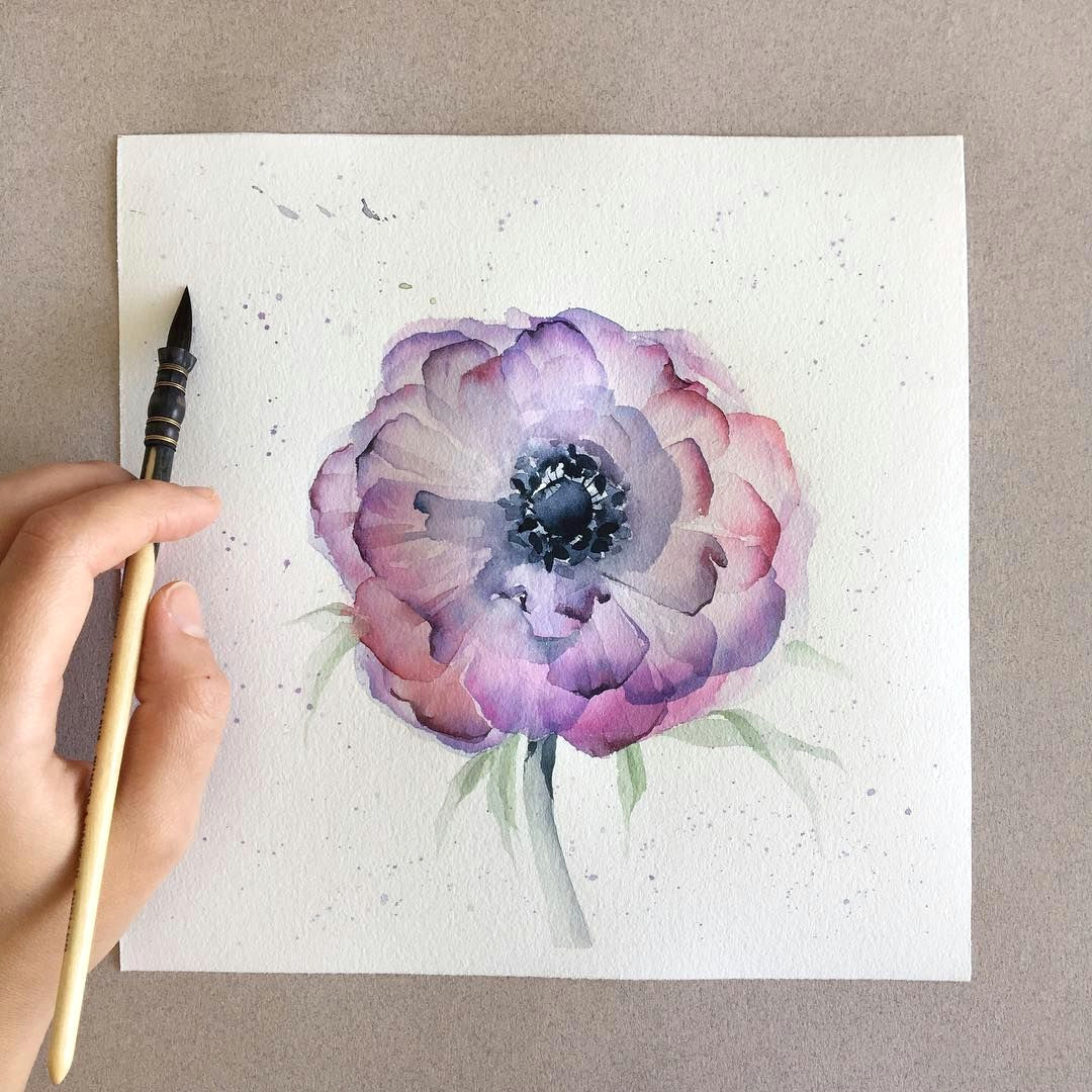 free hand watercolor drawing d again i don t know the name of the flower