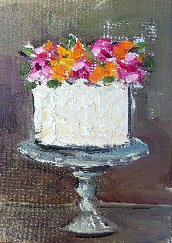 mutfak cake painting food painting small canvas canvas art mini canvas