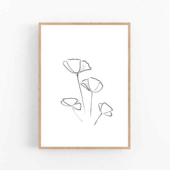 poppies line art flower print abstract floral wall decor minimalist art modern