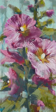 happiness is a hollyhock 6x12original pastel painting by karen margulis pastel drawing painting