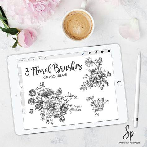 procreate floral brushes procreate brushes flower brushes stamp brushes ipad pro