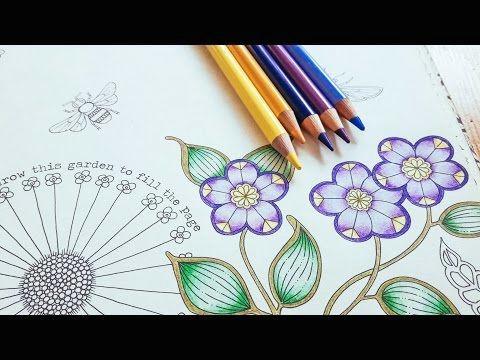 coloring tutorial secret garden pt 1 flower with polychromos youtube