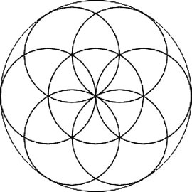 the flower of life left and the seed of life right