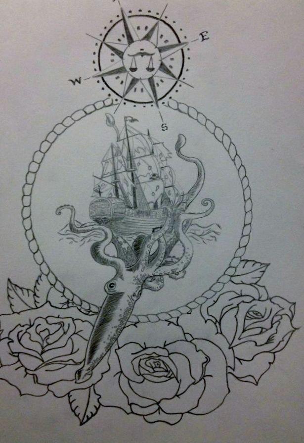kraken compass boat ocean ship sea octopus squid roses frame drawing pencil tattoo illustration