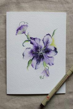 purple clematis flower watercolor painted card by sunsetpeonies floral watercolor watercolor paper watercolor pencils