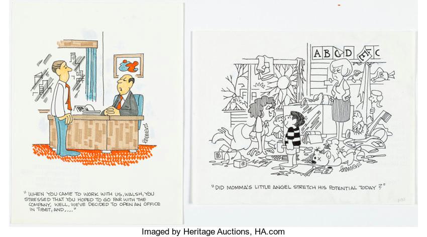 original comic art illustrations fred thomas single panel gag strips original art