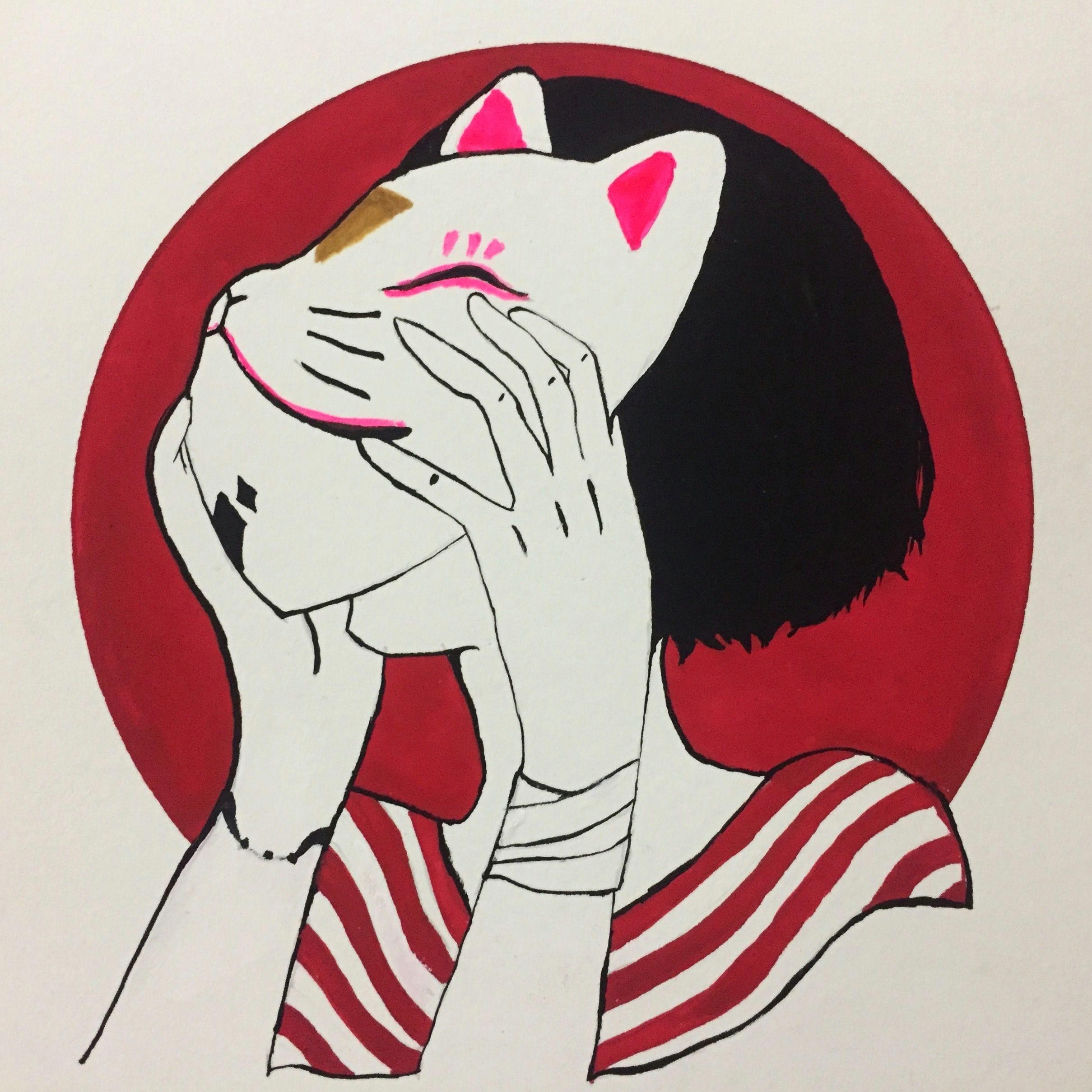 Drawing Girl Mask Cat Mask Girl Drawing In 2019 Drawings Art Art Drawings