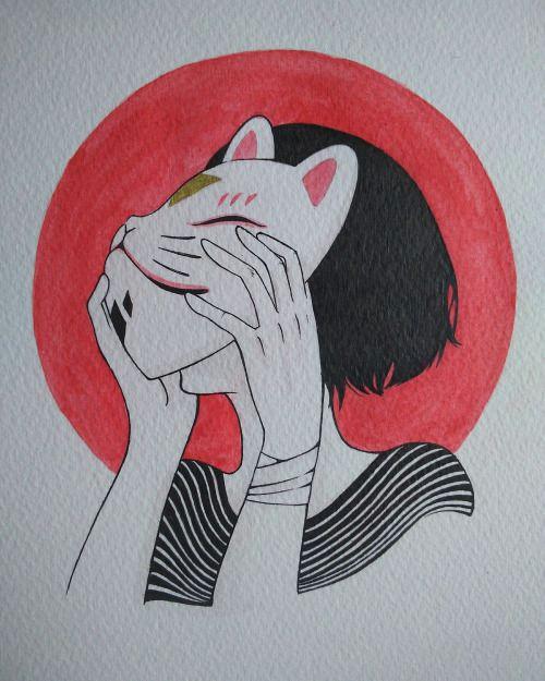 kitsune girl mask illustration watercolor japanese