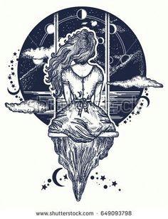 girl on swing flies to sky tattoo art symbol of dream love imagination adventures