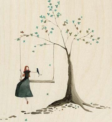 minimalist picture girl on swing under tree