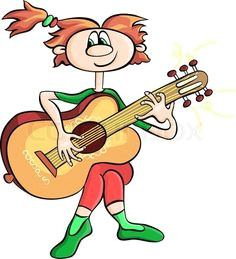 cartoons girls with guitars stock vector of vector cartoon girl playing the guitar