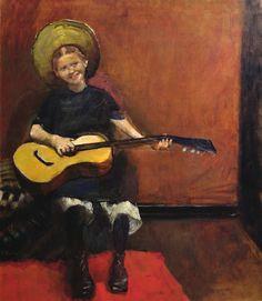 christian krohg girl with guitar 1888 art nouveau figure painting edvard
