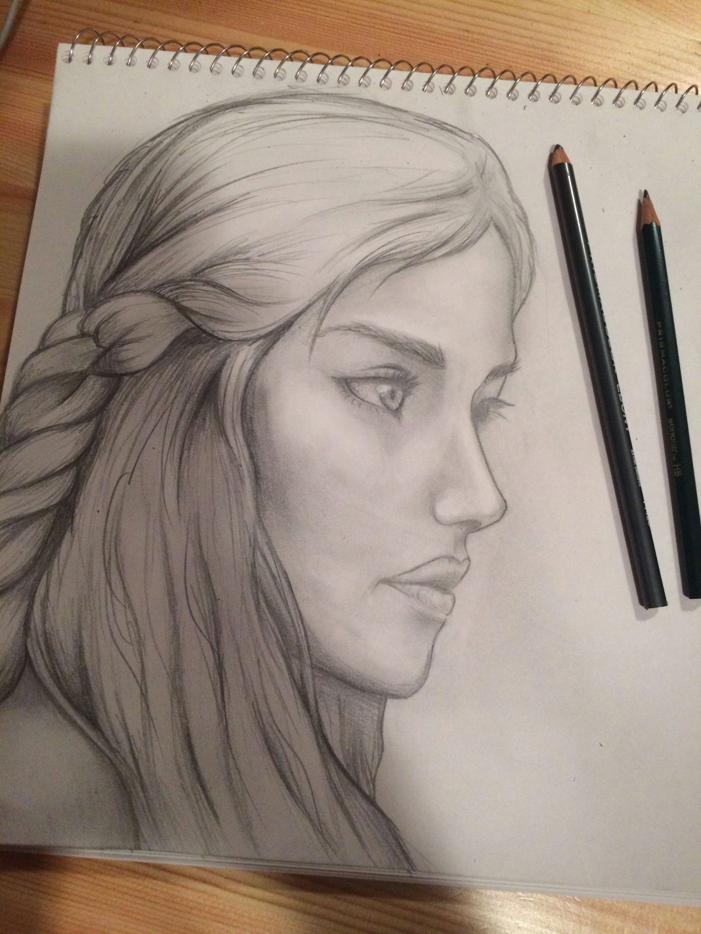 almost done my pencil portrait of the dragon queen from game of thrones