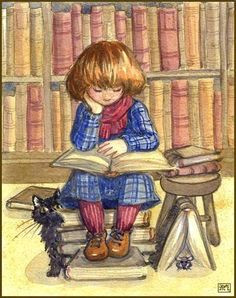 reading and books in art great ilustration little reader by leochi