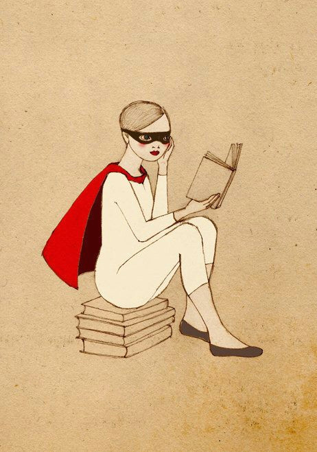 superhero reader girl deluxe edition print of original drawing in 2018 art illustration pinterest books reading and love book