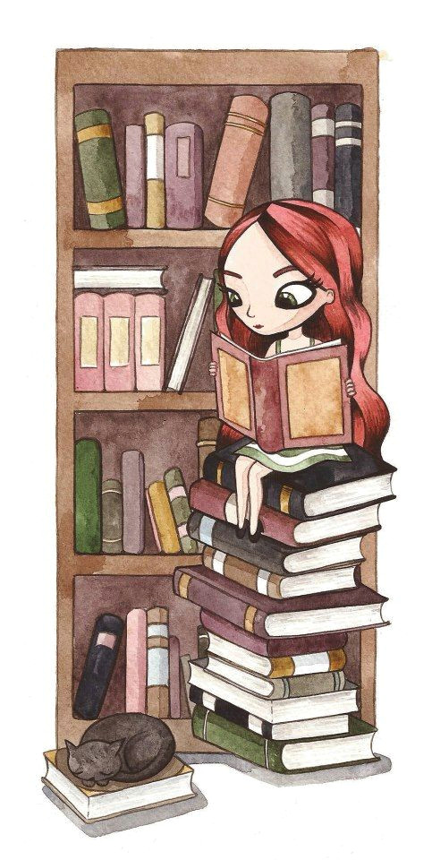 this might as well be a self portrait long red hair surrounded by piles of books and a furbaby except with me it would be many furbabies