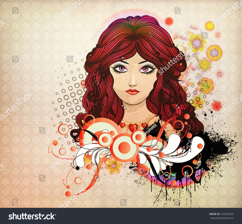 Drawing Girl Red Hair Illustration Girl Red Hair Flourish Abstract Stock Illustration