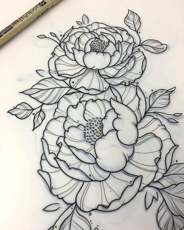 more peony flower tattoos tattoos for girls flowers piony flower black