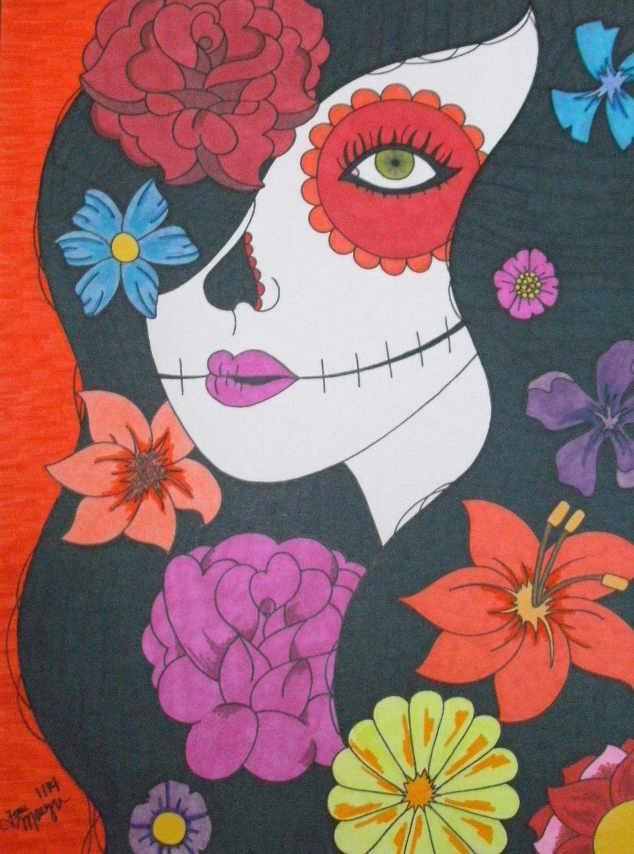 sugar skull girl flowers drawing 9x12 inch drawing day of the dead art sugar skull drawing mexican inspired art calavera drawing