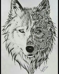 geometric wolf tattoo sharpie paint pens wolf tattoos mandala tattoo animal totems