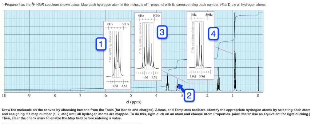 1 propanol has the h nmr spectrum shown below map each hydrogen atom in
