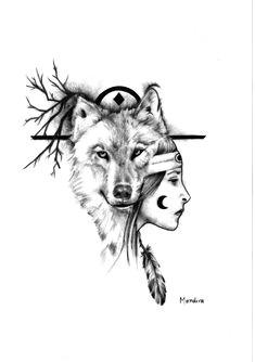 native american girl with wolf realistic tattoo design by mandira native tattoos wolf tattoos