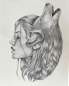 alba paleo on instagram playing around wolves she became one d draw drawing illustration illustrate sketch sketching sketchbook pendraw