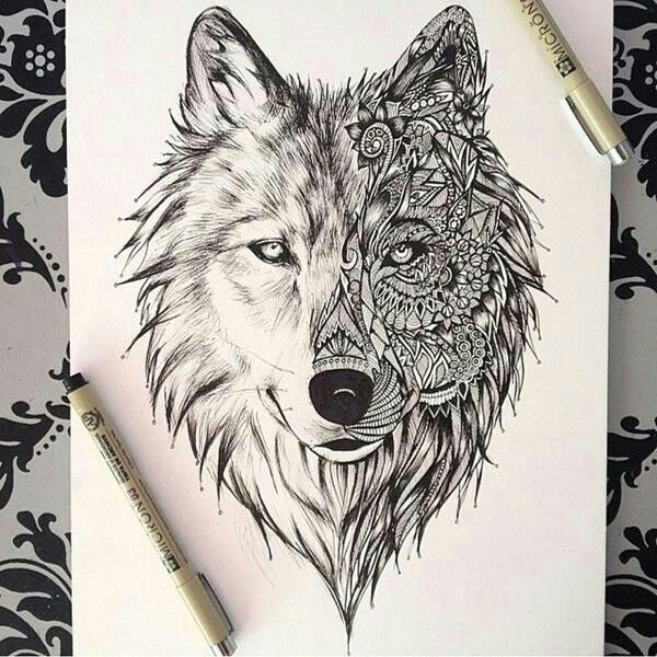 wolf drawing tattoos and drawings