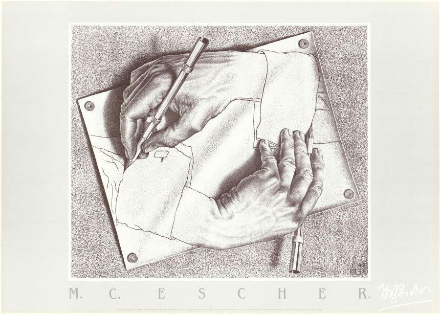 reprodukcja drawing hands 1948 od m c escher