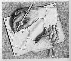 escher drawing hands 1948 lithograph our first project for life drawing 1 is to draw contour lines of our hand in different positions
