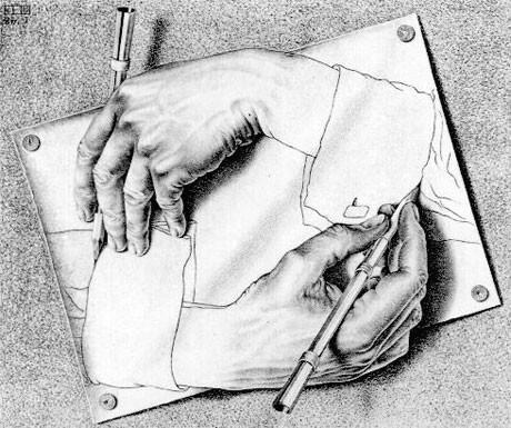 m c escher zeichnende hande 1948