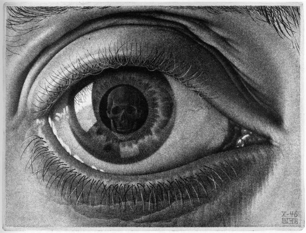 drawing hands 1948 by m c escher surrealism allegorical painting