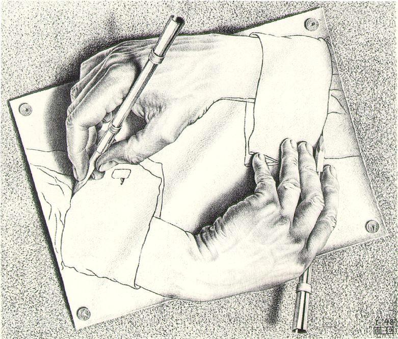 Drawing Hands Escher 1948 Drawing Hands Mc Escher 1948 Escher Drawings Art Escher Art