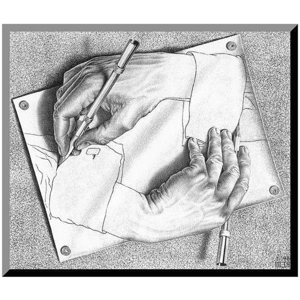 art com drawing hands wood wall art by m c escher