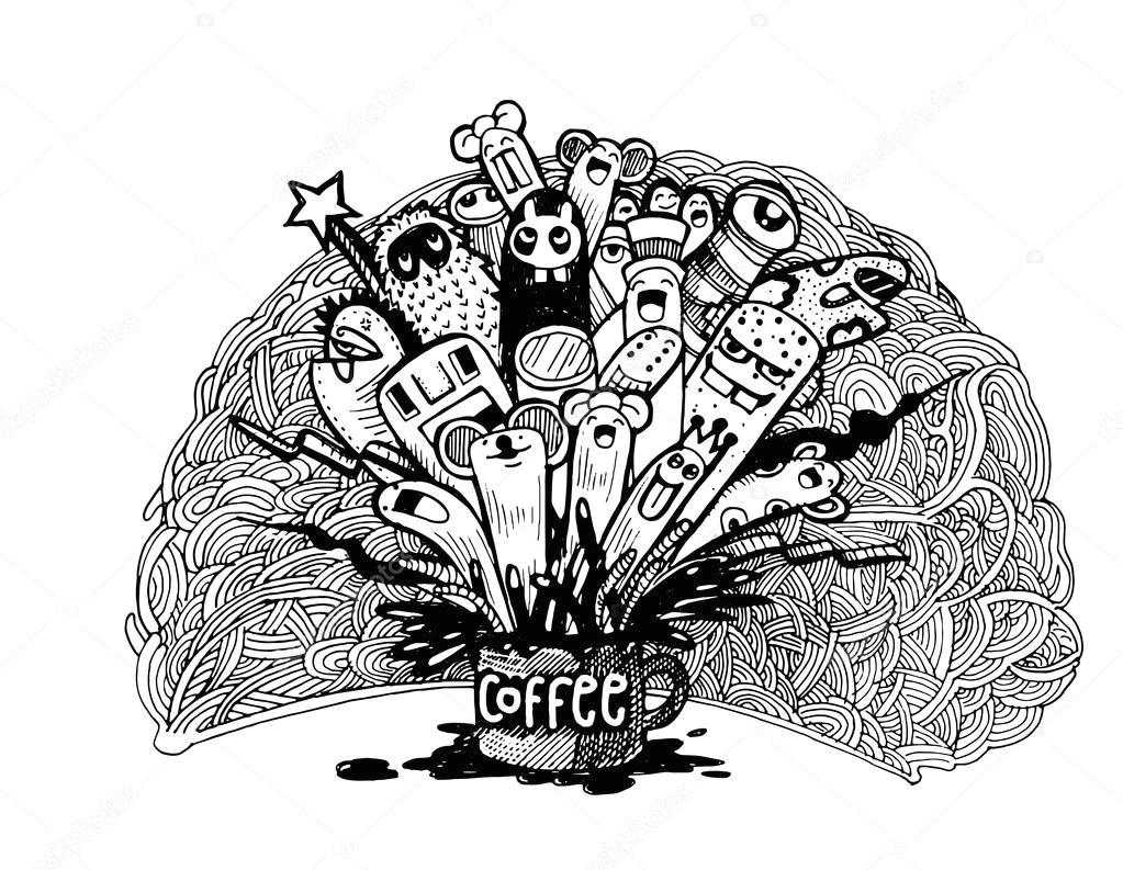 Drawing Hands In Illustrator Hand Gezeichnet Doodle Kaffee Hintergrund Illustrator Zeilen tools