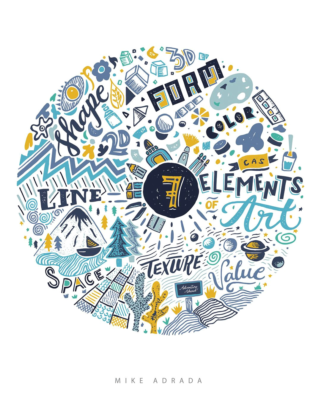 the 7 elements of art hand drawn hand lettered and digitzed in illustrator