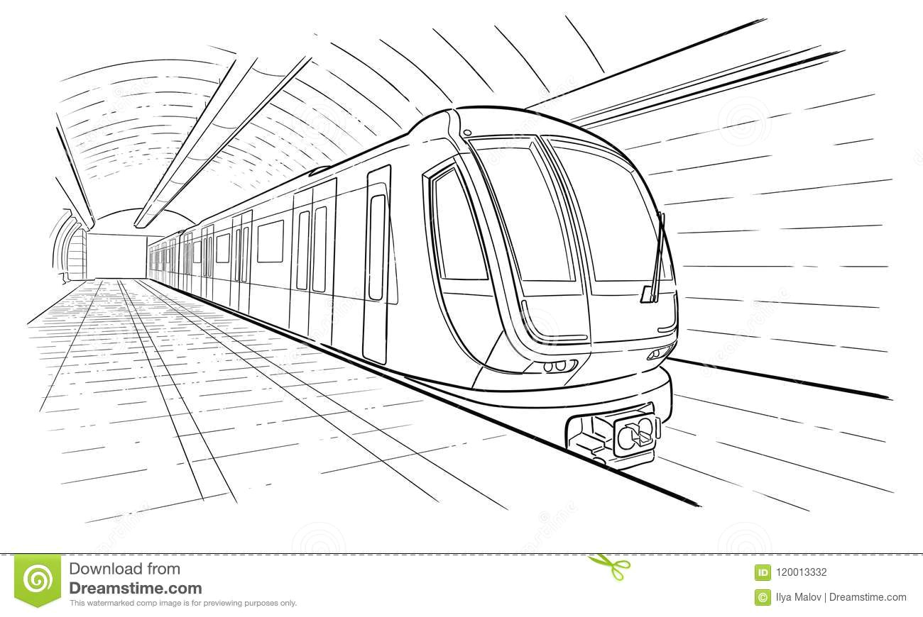 hand drawn ink line sketch subway station train in outline style perspective view