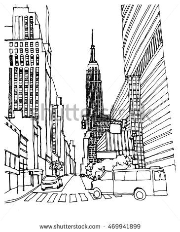 hand drawn ink line sketch new york city with empire state building buildings cars cityscape in outline style perspective view postcards design