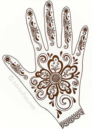 henna hand designs art lesson
