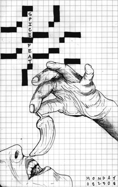 one of many awesome crossword inspired drawings by emily jo cureton wish she was still creating this wonderful artwork