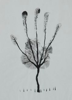 man s hand tree drawing by ahmed al safi