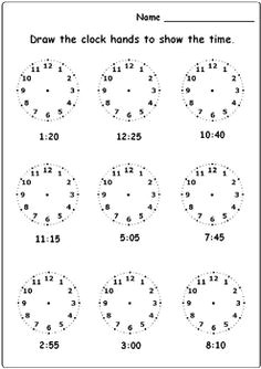 free drawing hands to clock activity telling time