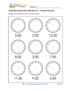 draw the time to the half hour telling time worksheets for first grade include telling