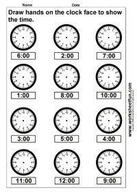 time draw hands on the clock face 4 worksheets