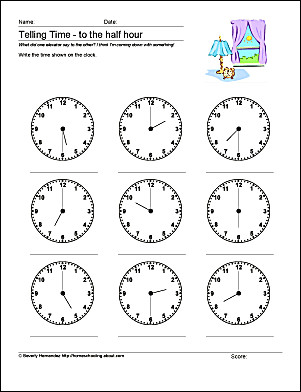 Drawing Hands On Clock Half Past Math Worksheets Telling Time to the Half Hour