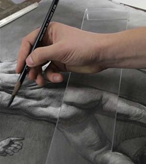 plastic bridge over charcoal drawing