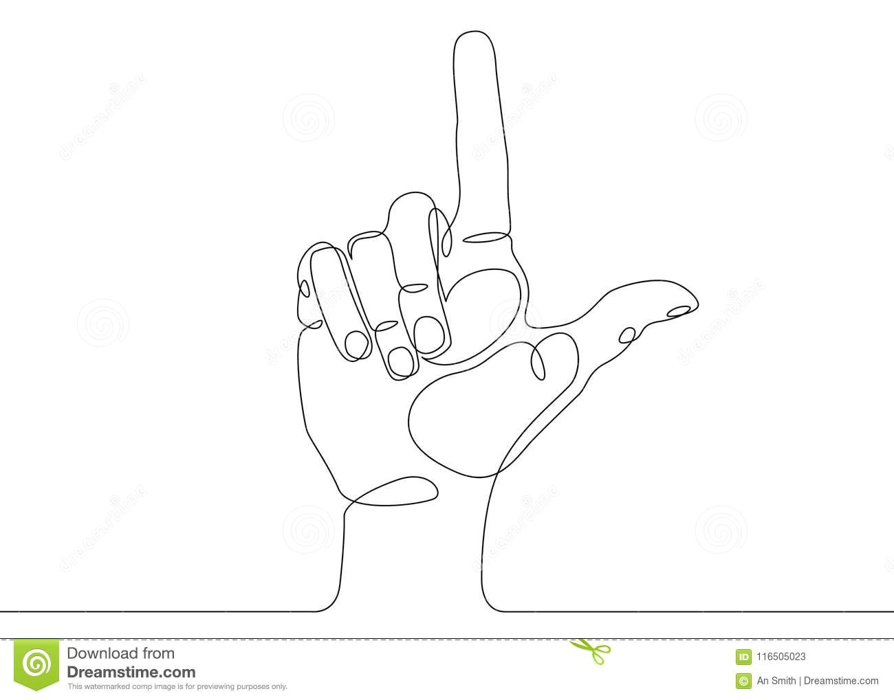 continuous line drawing hand pointing direction finger