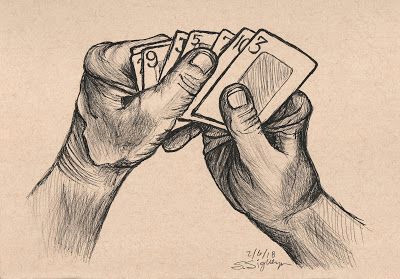 drawing of hand holding cards