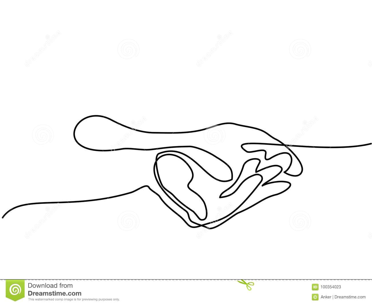 continuous line drawing hands palms together vector illustration